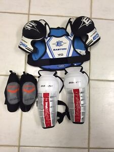 Chest protector, elbow pads, shin guards