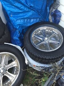 """20"""" american racing chrome rims, studded winter tires + 4 summer"""