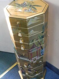 Oriental multi-drawer column chest 4ft tall approx