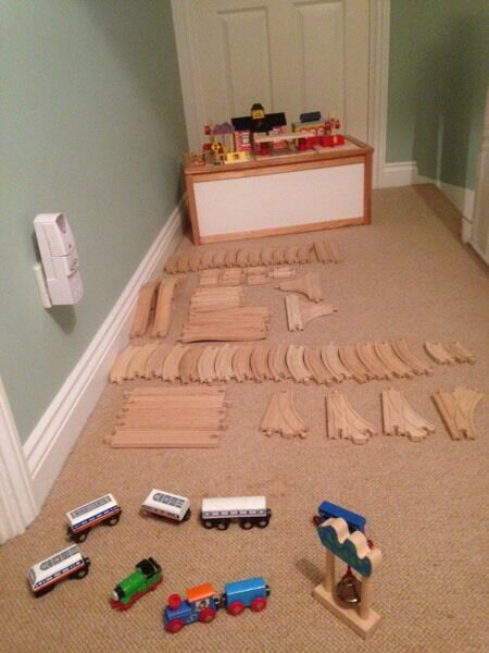 Wooden train track and buildings £70 ONO