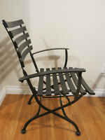 CAST IRON PATIO CONDO DEN SET FOLDING CHAIRS WITH MARBLE TOP