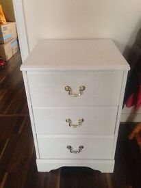White bed side table drawers
