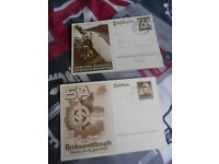 2 GERMAN THIRD REICH POSTCARDS DATED 1937 AND 1938. Postally used