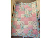 Handmade toddler bed throw, pillow case and 2 cushion covers