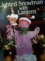 CHRISTMAS LIGHT UP GLASS SNOWMAN WITH LANTERN