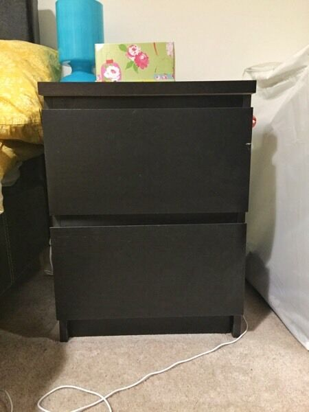 Black wooden bed side table with very good condition