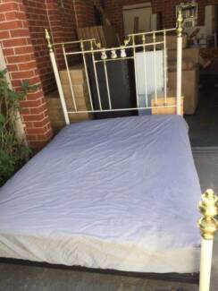 white brass design queen size bed frame used mattress, can delive