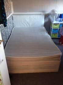 Double divan with mattress and headboard