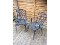 nice pair of cast alloy garden chairs / patio chairs / bistro chairs £20