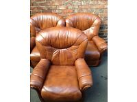 3 matching leather arm chairs free delivert