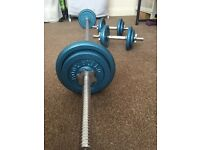 "Barbell 5'11"" and two dumbbells with weights 2*5kg, 6*2kg, 4*1kg"