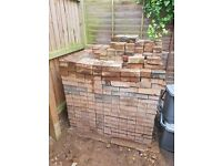 Patio Bricks, approx 15sqm/700 bricks. Red/brown + few grey for edging