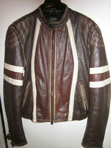 AUTHENTIC MENS GAS JEANS LEATHER MOTO JACKET SIZE LARGE SLIM FIT