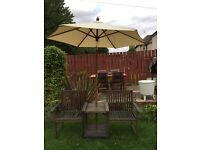Love seat bench & table set with parasol garden furniture