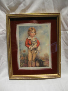 "ADORABLE OLD VINTAGE FRAMED PRINT..""JUST a BOY & HIS DOG"""