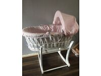 Pink and whites moses basket and stand