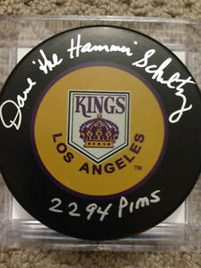 Dave Schultz Los Angeles Kings Autographed Puck w/ 2294 PIMS Ins