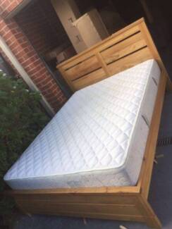 nice woodencolor solid woode queensize bed frame used mattress, c