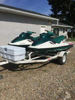 2 jet skis with trailer