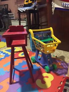 Kids play kitchen with high chair, grocery cart and play food. Sarnia Sarnia Area image 2