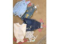 5 pairs of dungarees, next and Mothercare 0-3 and one pair 3-6