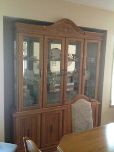 Oak Dining Room Table With 6 Chairs And Hutch Dining Tables And Sets Winn