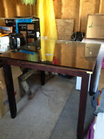 Tall table with a glass top