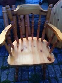 Solid pine carver chair