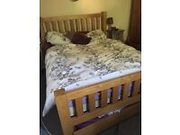 Solid oak king size bed with 2 solid oak under storage draws