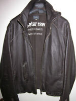 MENS G-STAR RAW BROWN MOTO BIKER LEATHER JACKET SIZE M