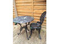nice old but sturdy cast patio set / bistro set / garden furniture £40