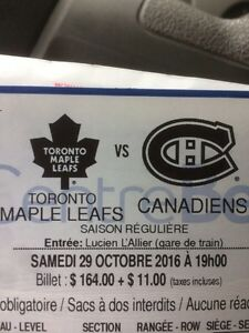 Canadiens vs leafs 29 Novembre