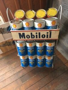 Mobil oil rack and cans