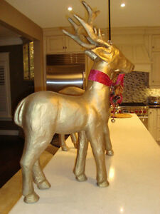 """Pair 37"""" Christmas Reindeer -Gold Paper Mache-The Pair for $70 Kitchener / Waterloo Kitchener Area image 7"""