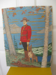 LARGE UNFRAMED RCMP PAINTING on CANVAS