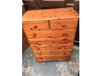 Pine chest of drawers 2 over 5 local delivery