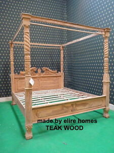 Teak wood super king size rustic natural queen anne style for Raw wood bed frame