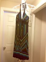 Dress for sale: Black with coloured stripes (Le Chateau XXS)