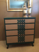 Stunning Refinished Antique Moroccan Print Dresser!