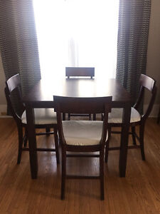 Modern Square Counter Height Dining Table and 4 Chairs