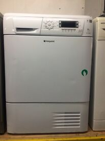 White hotpoint digital screen display 8kg condenser dryers good condition with guarantee bargain