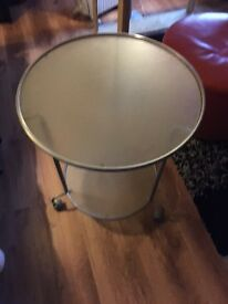 Glass Round Metal Top Table Trolley