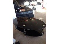 Black glass oval coffee table