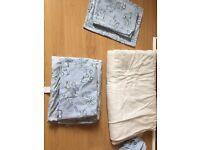 White & Blue Cotbed Bedding bundle**
