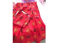 Manchester United lined curtains and rug