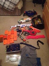 Mixture of nerf guns and accessories