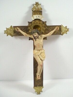Jesus cross 35 cm to Hang up Poly Figurine Religion New