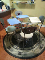 Round Glass 4' Dining Table /w 4 Designer Suede Chairs