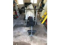 Weight bench + weights + leg extension