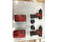 2x snap on impact wrenches 3/8th drive lithium ion batteries